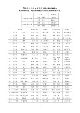「平成 28 年度札幌市教育研究推進事業」 校長会