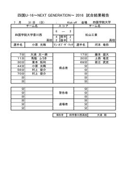 四国U-16~NEXT GENERATION~ 2016 試合結果報告