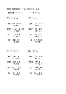東京都23区中学生テニス大会 - 足立区テニス協会ホームページ